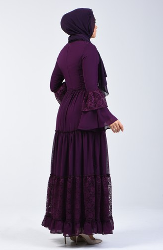 Lace Detailed Dress 81674-04 Damson 81674-04