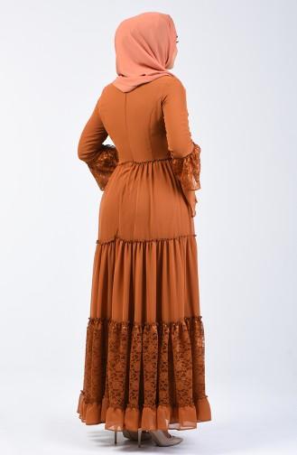 Dantel Detaylı Elbise 81674-05 Hardal