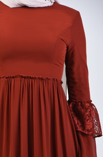 Lace Detailed Dress 81674-06 Brick Red 81674-06