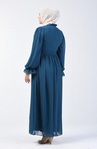 Kuşaklı Şifon Elbise 5133-02 Petrol Mavisi