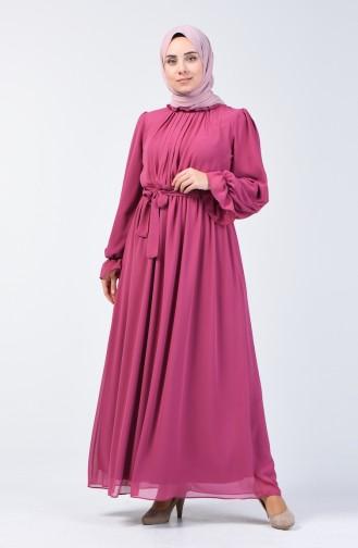 Belted Chiffon Dress 5133-04 Rose Dry 5133-04