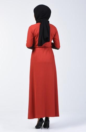Püsküllü Elbise 2051-03 Kiremit