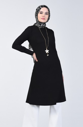 Long Tunic with Necklace 3047-06 Black 3047-06