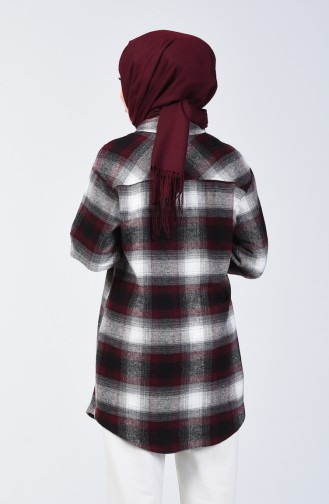 قميص شتوي بنقشة كارو أحمر كلاريت ورمادي 6401-01