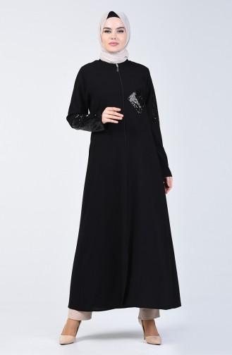 Payetli Cepli Ferace 1055-01 Siyah