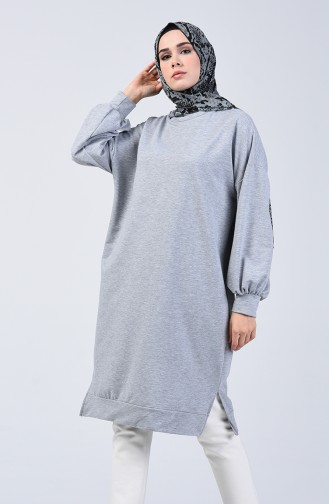 تونيك رياضي بأكمام خفاش رمادي 6366-07