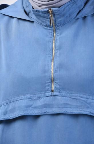 Tensel Tunika mit Reißverschluss Detail 6307-03 Indigo 6307-03