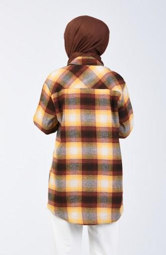 قميص شتوي بنقشة كارو بني وخردلي 6401-02