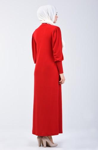 فستان سادة بياقة على شكل طوق أحمر 8143-02