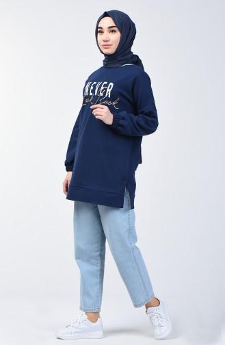 Printed Sweatshirt 1200-03 Navy Blue 1200-03