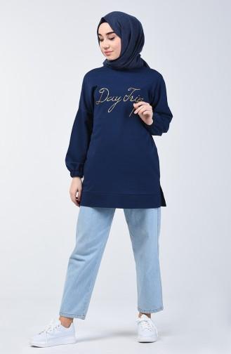 Yazı Baskılı Sweatshirt 1500-03 Lacivert