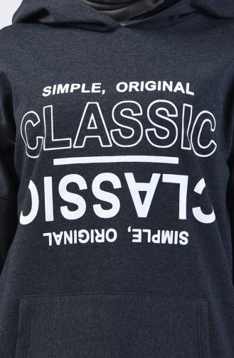 Yazı Baskılı Sweatshirt 1600-02 Füme