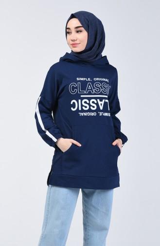 Yazı Baskılı Sweatshirt 1600-03 Lacivert