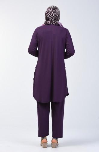 Grösse Grosse Bedruckter Tunika Hose Zweier Anzug  2695-02 Lila 2695-02