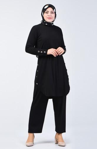 Büyük Beden Düğme Detaylı Tunik Pantolon İkili Takım 2695-03 Siyah 2695-03