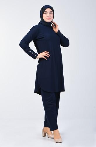 Büyük Beden Düğme Detaylı Tunik Pantolon İkili Takım 2695-04 Lacivert