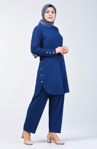 Plus Size Button Detailed Tunic Trousers Double Set 2695-05 Indigo 2695-05