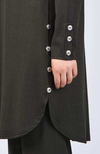 Büyük Beden Düğme Detaylı Tunik Pantolon İkili Takım 2695-08 Haki 2695-08