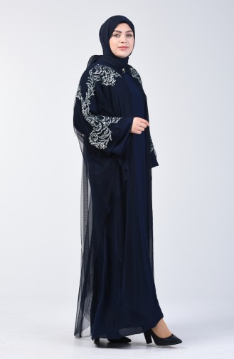 Scaly Evening Dress Double Set 9y3928002-02 Navy Blue 9Y3928002-02