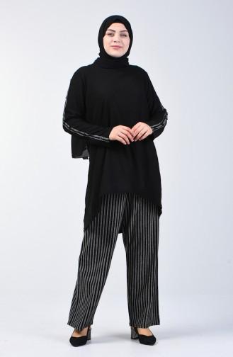 Plus Size Button Detailed Tunic Trousers Double Set 6051-01 Black 6051-01