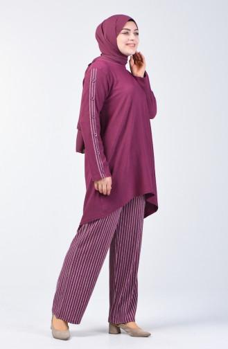 Büyük Beden Düğme Detaylı Tunik Pantolon İkili Takım 6051-04 Gül Kurusu 6051-04