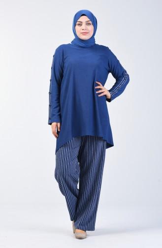 Büyük Beden Düğme Detaylı Tunik Pantolon İkili Takım 6051-05 Mavi