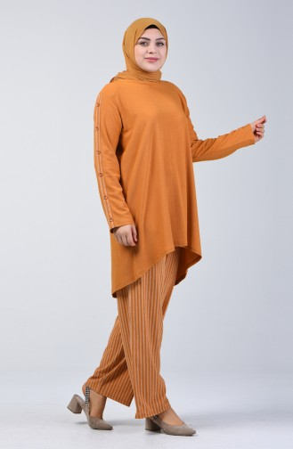 Plus Size Button Detailed Tunic Trousers Double Set 6051-06 Mustard 6051-06
