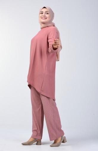 Grösse Grosse Tunika Hose Zweier Anzug 6051-08 Pink 6051-08