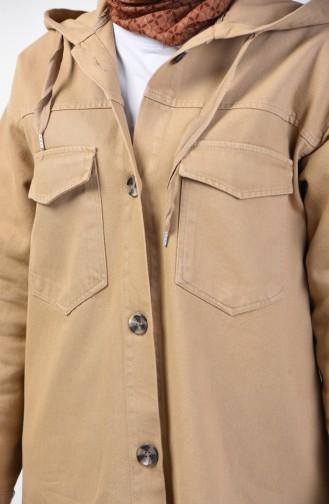 Kapüşonlu Kot Ceket 6376-01 Taş