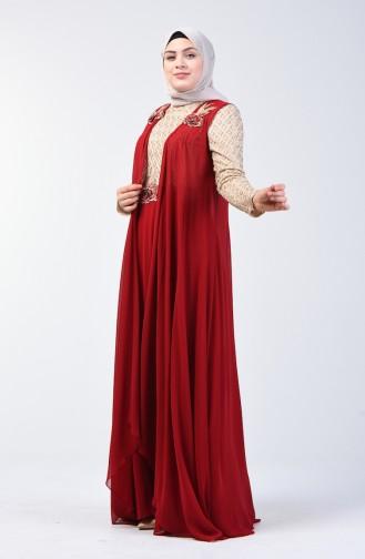 Pelerinli Abiye Elbise 8K48411002-01 Bordo