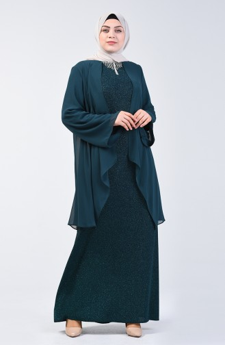 Plus Size Silvery Evening Dress 3056-03 Emerald Green 3056-03