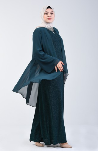 Habillé Hijab Vert emeraude 3056-03