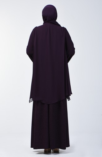 Büyük Beden Simli Abiye Elbise 3056-04 Mor