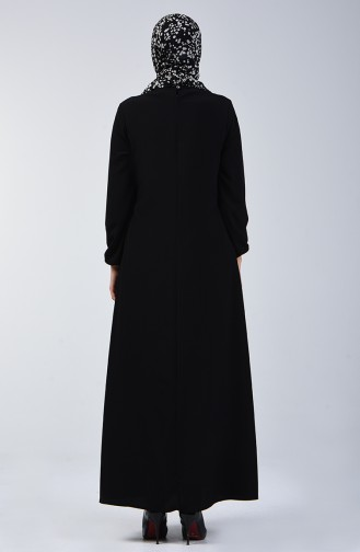 A Pleated Dress with Elastic Sleeves 0120-01 Black 0120-01