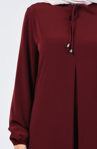 Kolu Lastikli A Pile Elbise 0120-02 Vişne