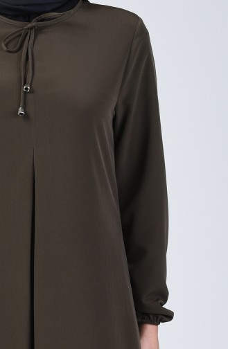 A Pile Dress with Elastic Sleeves 0120-04 Khaki 0120-04