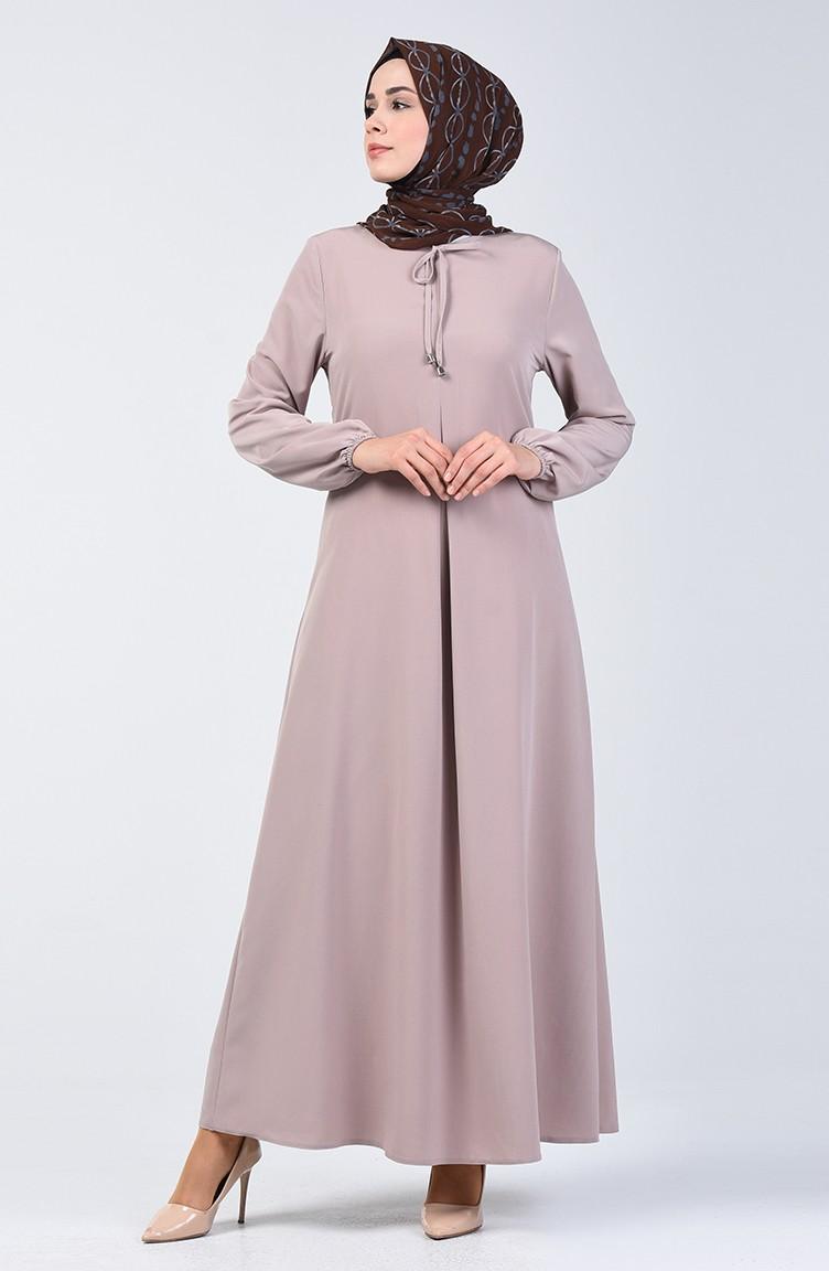 sefamerve tesettur elbise saye0120 07 5052761582709472640 1 A Pile Dress with Elastic Sleeves 0120-07 Beige 0120-07