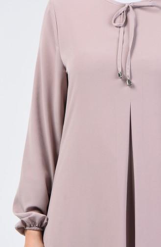 Kolu Lastikli A Pile Elbise 0120-07 Bej
