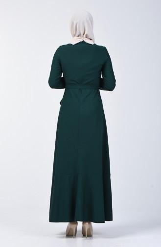 Volanlı Kuşaklı Elbise 4064-13 Zümrüt Yeşil 4064-13