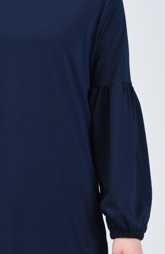 Balloon Sleeve Basic Tunic 5811-12 Navy Blue 5811-12