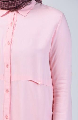 Knopf Detaillierte Tunika 1605-01 Pink 1605-01