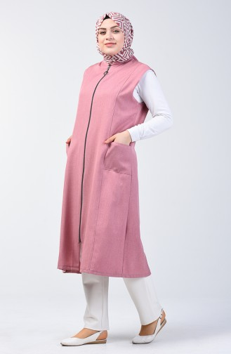 Plus Size Long Vest with Pockets 2106-03 Rose Dry 2106-03