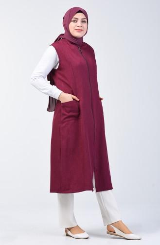 Plus Size Long Vest with Pockets 2106-04 Damson 2106-04