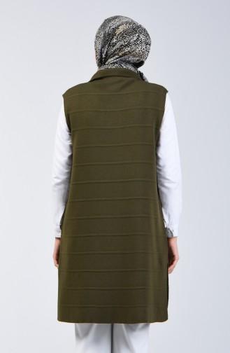 Gilet Tricot Sans Manches à Poche 4205-03 Khaki 4205-03