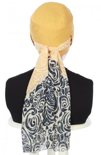 Bonnet Peigné avec Châle en Mousseline B0036-11-S Moutarde Jaune 0036-11-S