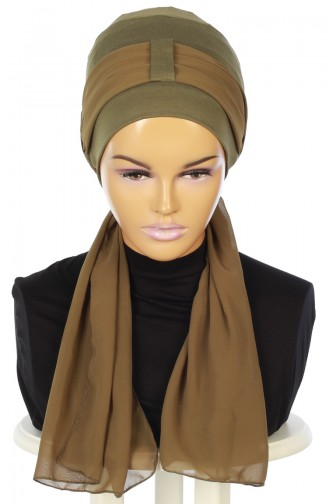 Chiffon Shawl Combed Bonnet B0036-13-17 Khaki 0036-13-17