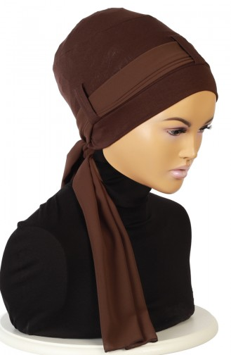 Gekämmter Bonnet mit Chiffon Schal  B0036-5-6 Braun 0036-5-6