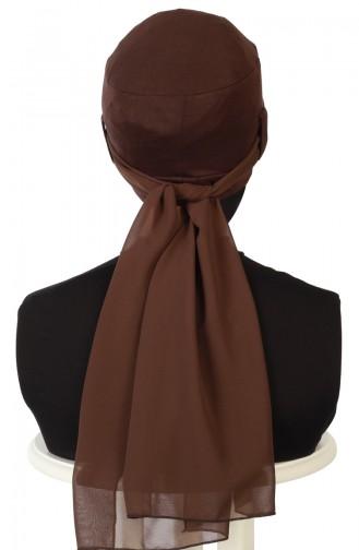 Bonnet Peigné avec Châle en Mousseline B0036-5-6 Brun 0036-5-6