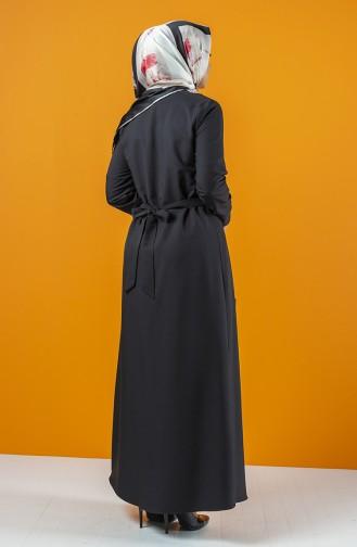 Abaya à Fermeture Avec Ceinture 2138-02 Noir 2138-02