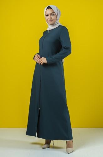 Abaya à Fermeture Avec Ceinture 2138-04  Vert émeraude 2138-04